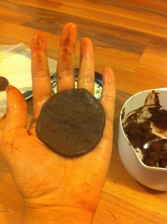 Shaping chocolate cream cheese truffles
