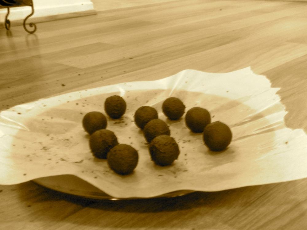 Making assorted chocolate truffles