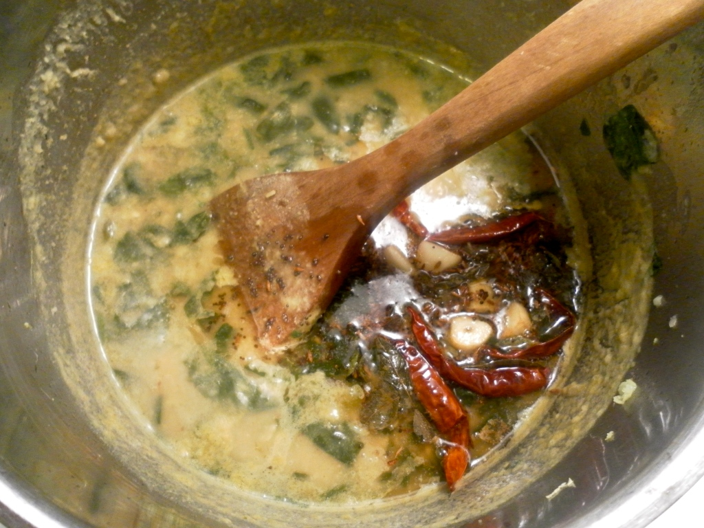 Making Hyderabadi Palak Dal (Spinach Lentils)