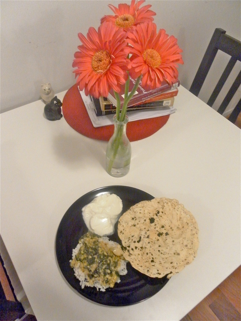 Hyderabadi Palak Dal (Spinach Lentils) with Rice