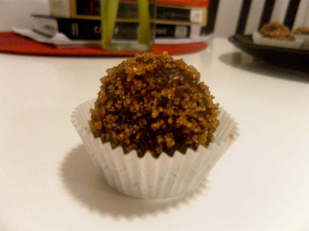 Brown sugar-coated chocolate truffles with orange-cream cheese centers