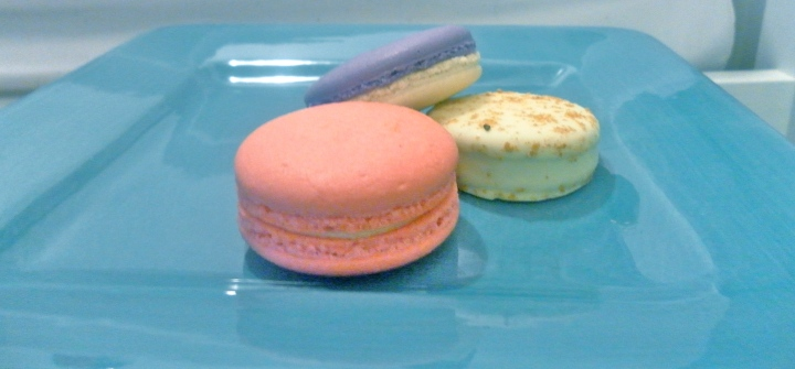 Colourful macarons and a ginger chocolate cookie