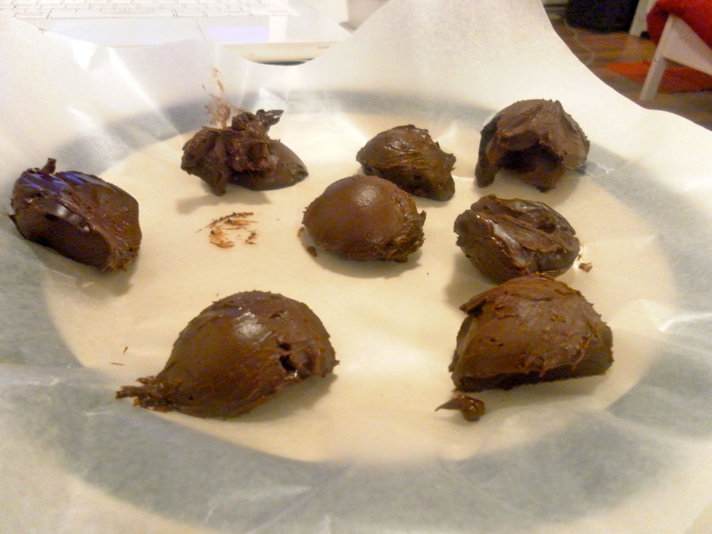 Making assorted chocolate truffles