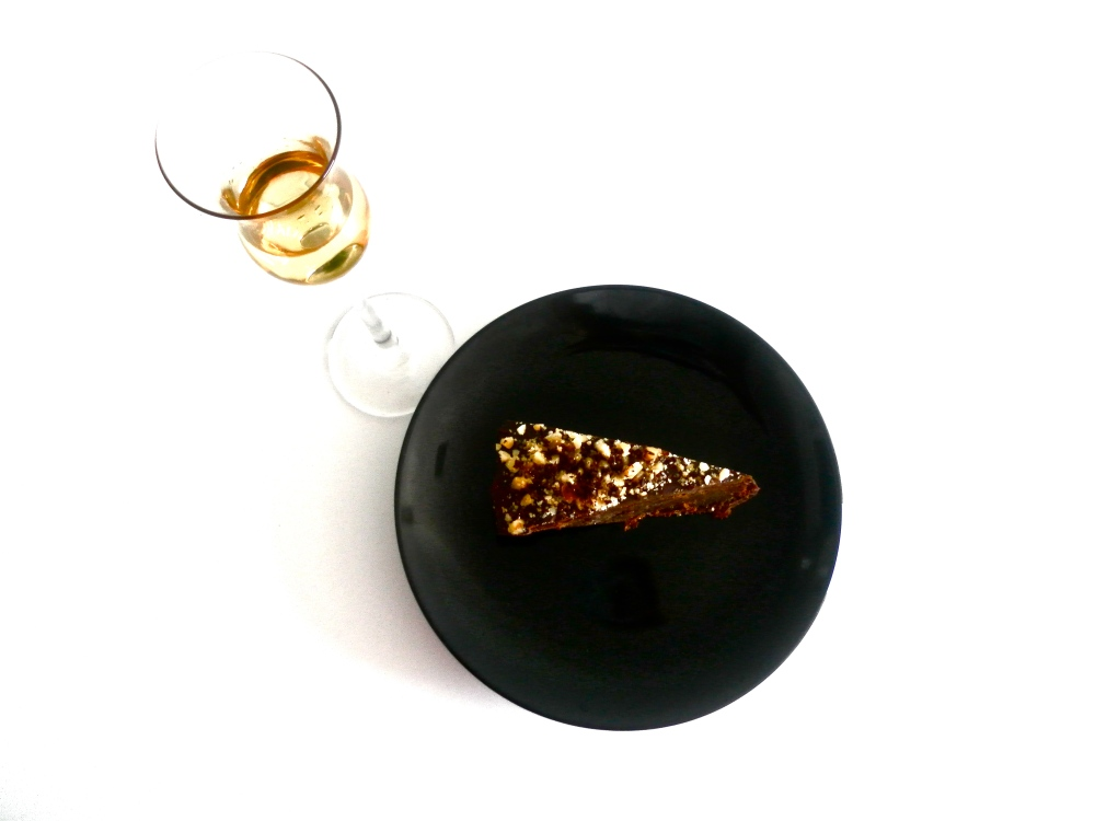 Rich, hazelnut cake served with Frangelico