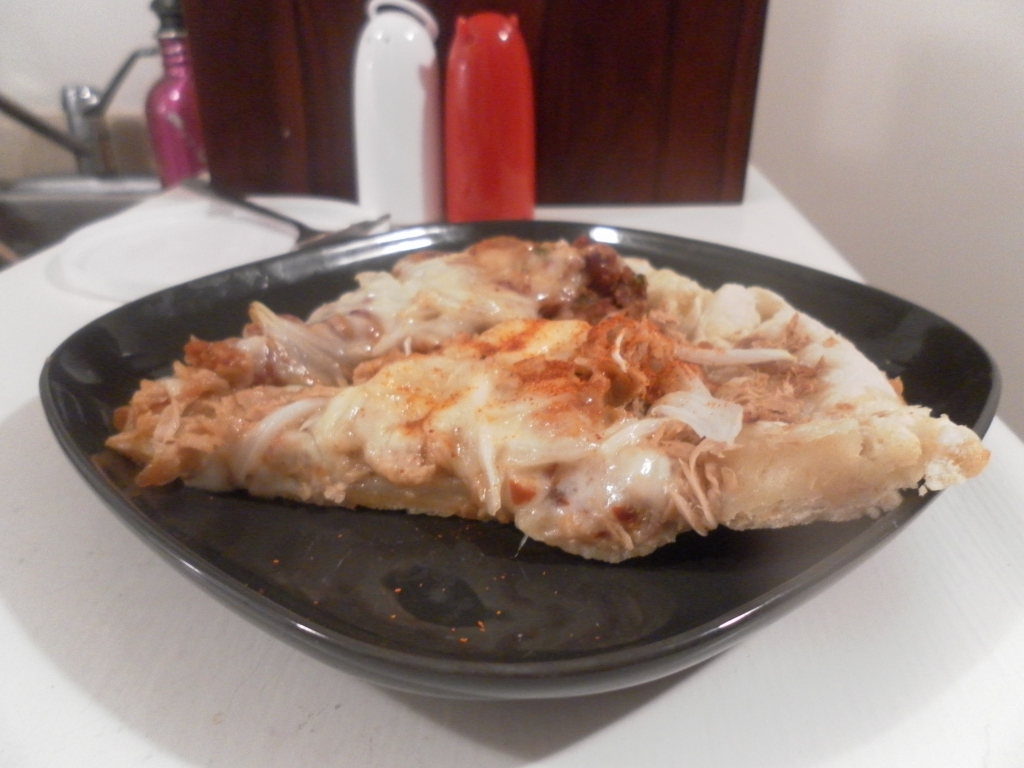 Yummy refried bean pizza