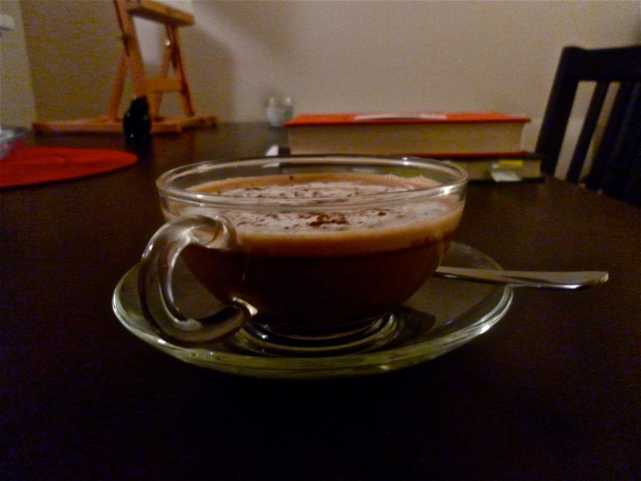 Chocolatey hazelnut coffee on a grey day.