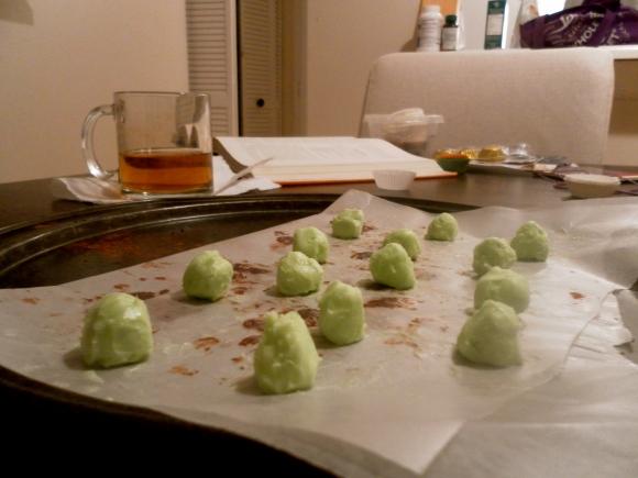 Making mint Chocolate Truffles