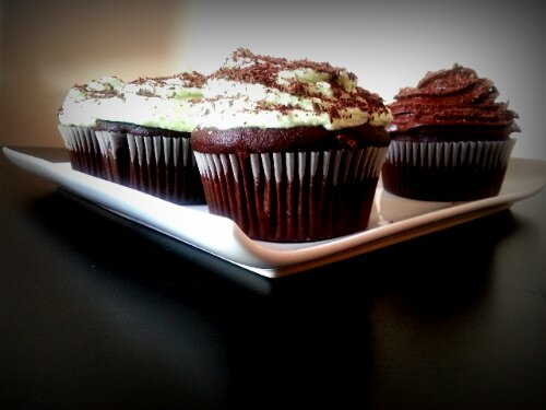 Chocolate cupcakes with mint buttercream frosting