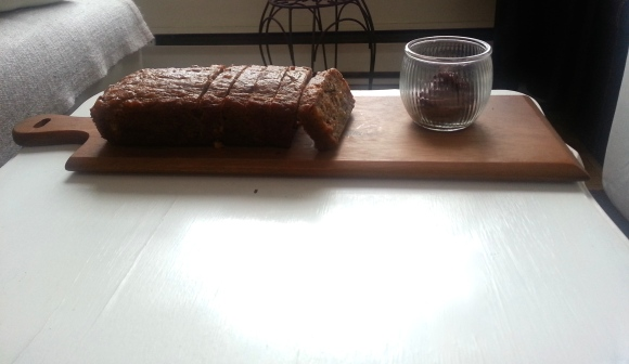 Great snack- banana bread with chocolate butter