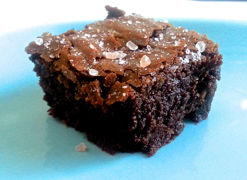 Rich gooey brownies topped with salt