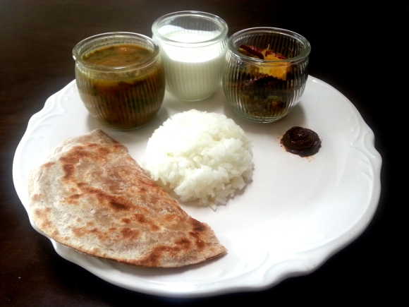 Healthy South Indian lunch with lentil soup