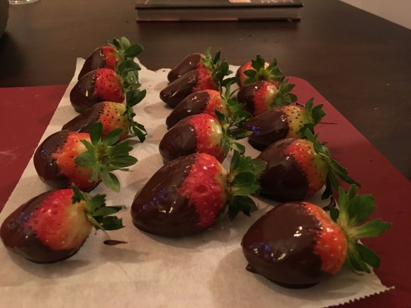 Champagne filled chocolate strawberries