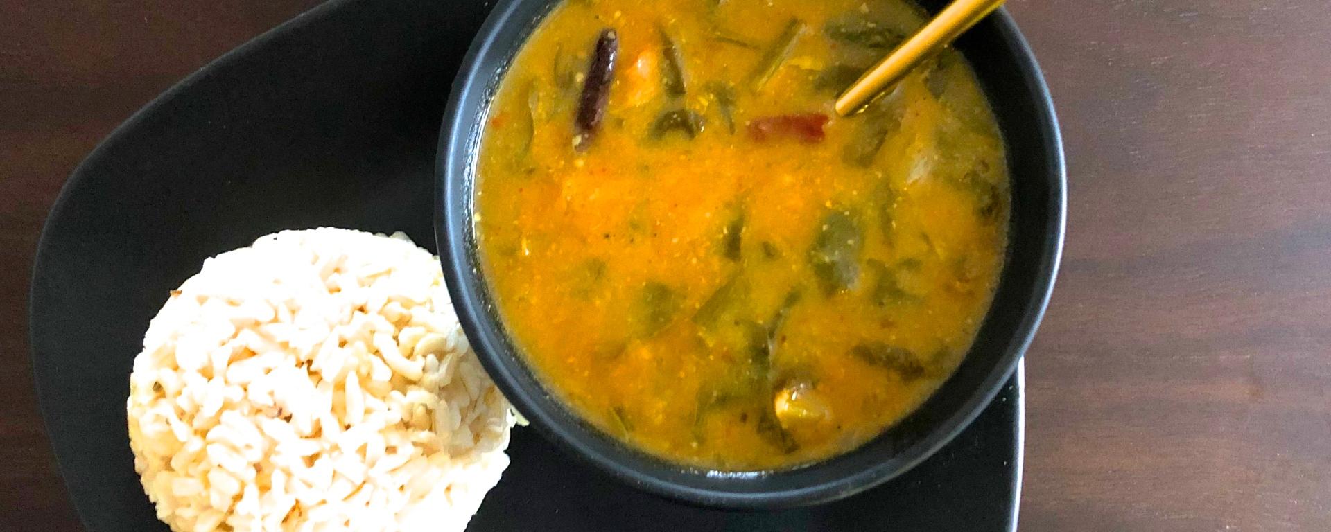 Healthy, vegan spinach lentils